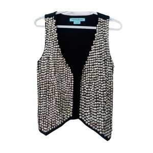 Guess Sequin Vest Cotton Jersey Silver Metallic S